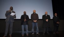 (Photo: DocNYC.net) All five men who were wrongfully tried, convicted and sentenced of raping the Central Park jogger in 1989, appear before an audience at a screening for the film.