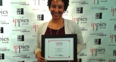 Sharon Toomer, BBN's Publisher, holds the 2013 Ippies Award for Best Multimedia Design.
