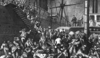 German immigrants boarding a ship for America in the late 19th century. (Image and caption via Loc.gov)